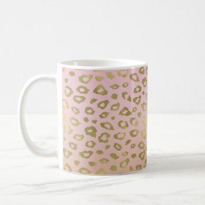 Pink Ombre Gold Leopard Print Coffee Mug