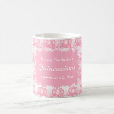 Pink Pastel Carriages Quinceanera Coffee Mug