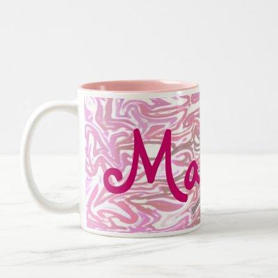 Pink Pattern with Girl's Name Two-Tone Coffee Mug