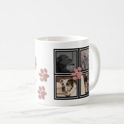 Pink Paw Prints   Instagram Pet Photo Collage Coffee Mug