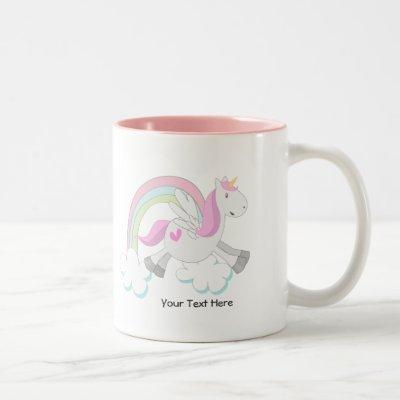 Pink Pegasus (customizable) Two-Tone Coffee Mug