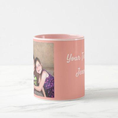 Pink Personalize PHOTO TEMPLATE Gift Coffee Mug