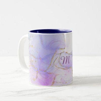 Pink, Purple and Blue Alcohol Ink Two-Tone Coffee Mug
