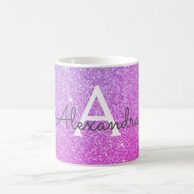 Pink Purple Sparkle Glitter Monogram Name Initial Coffee Mug