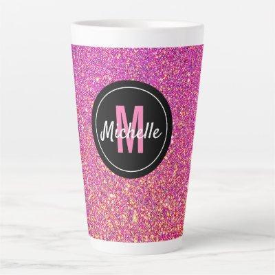 Pink Rose Glitter Sparkle Monogram Chic Latte Mug