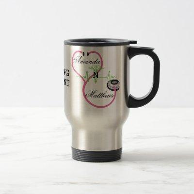 Pink Stethoscope Nursing Student Caduceus Name Travel Mug