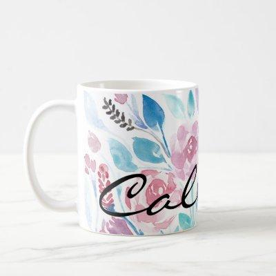 Pink Teal Blue Spring Watercolor Flowers Monogram Coffee Mug