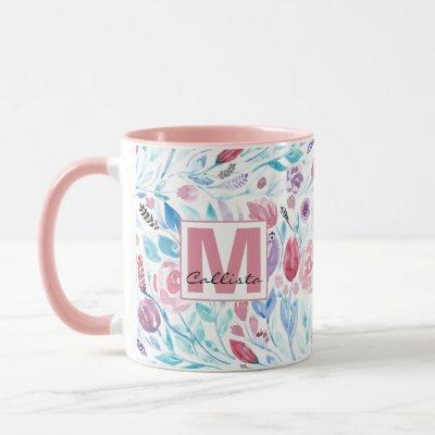 Pink Teal Blue Spring Watercolor Flowers Monogram Mug