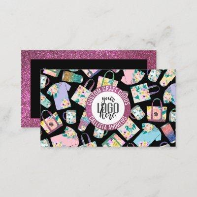 Pink Teal Floral Glitter Etsy Home Crafter Logo Business Card