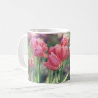 Pink Tulips Garden Coffee Mug