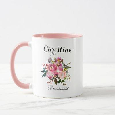 Pink Watercolor Floral Bridesmaid Mug