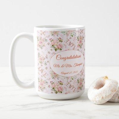 "Pink Watercolor Floral ""Mr & Mrs"" Love Coffee Mug"
