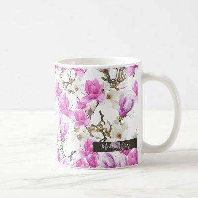 Pink & White Magnolia Blossom Watercolor Pattern Coffee Mug