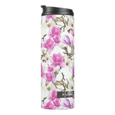 Pink & White Magnolia Blossom Watercolor Pattern Thermal Tumbler