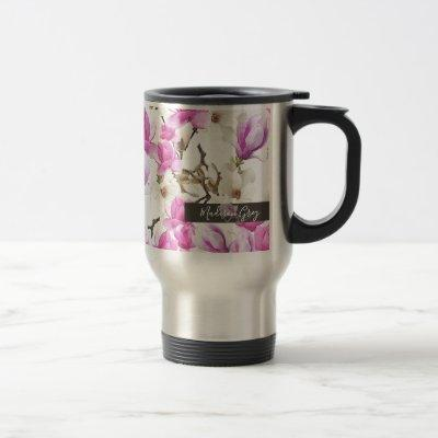 Pink & White Magnolia Blossom Watercolor Pattern Travel Mug