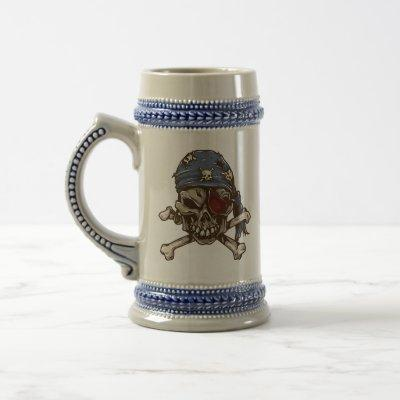 Pirate Skull & Crossbones Personalized Beer Stein