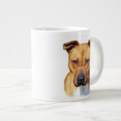 Pitbull dog large coffee mug