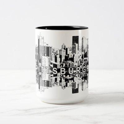 Pittsburgh, Pennsylvania skyline in black Two-Tone Coffee Mug