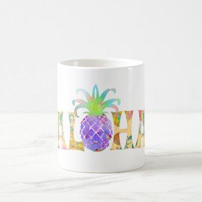 PixDezines Aloha Pineapple+Floral Watercolor Coffee Mug