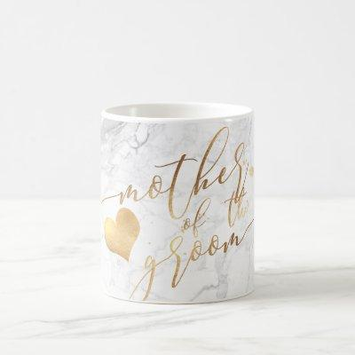 PixDezines Mother of Groom/Faux Gold Script Marble Coffee Mug