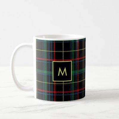 Plaid Tartan Red Green Black Yellow Monogrammed Coffee Mug