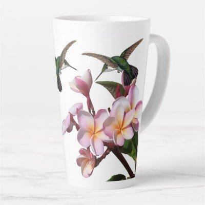 Plumeria Flowers Hummingbird Bird Latte Mug