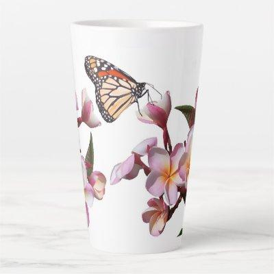 Plumeria Flowers Monarch Butterfly Latte Mug