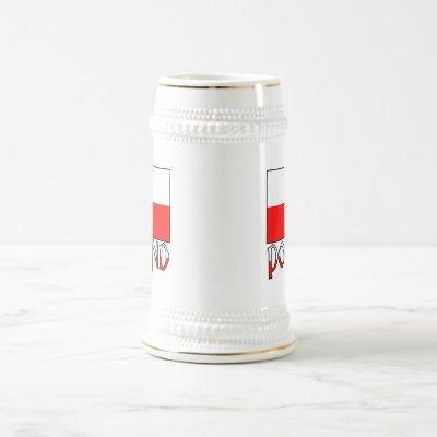 Poland Flag & Name Beer Stein