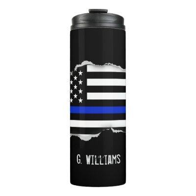 Police Flag Torn Out Look Custom Name Thermal Tumbler