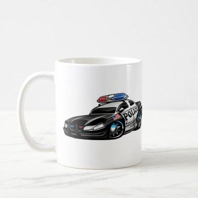 Police Muscle Car Cartoon Mug