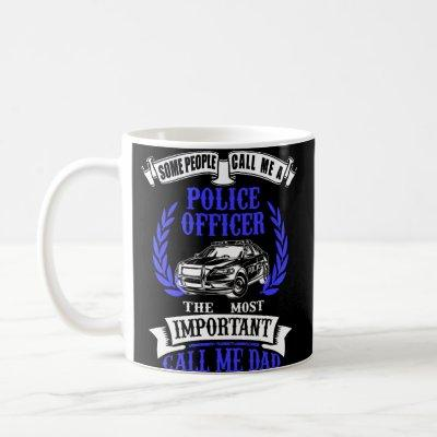 Police Officer Dad Car White & Blue Coffee Mug