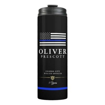 Police Officer | Service Anniversary Black Thermal Tumbler