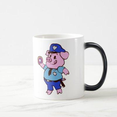 Police pig eating donut magic mug