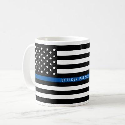 Police Thin Blue Line American Flag Add Name Coffee Mug