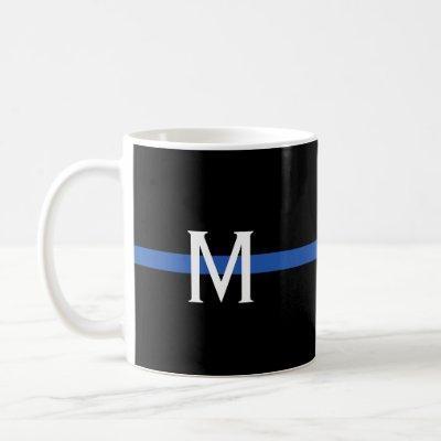 Police Thin Blue Line Monogram Coffee Mug