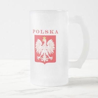 Polska Eagle Red Shield Frosted Glass Beer Mug