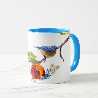 poppy and bird mug