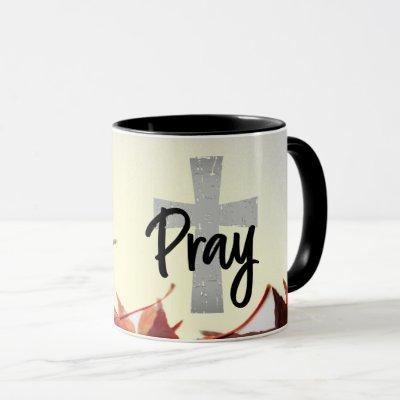 Pray Christian Cross, Autumn Red Leaves Mug