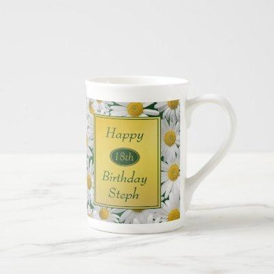 Pretty Bright Daisy Birthday Photo Gift Bone China Mug