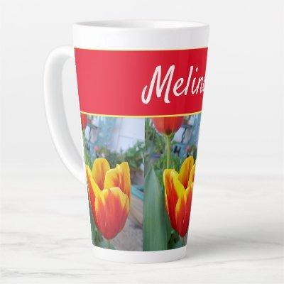 Pretty Floral Pastel Tulip Pink Bee Womans Mug