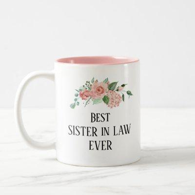 Pretty floral Personalised  Sister in Law ever Two-Tone Coffee Mug