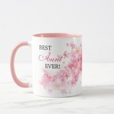 Pretty Floral Pink Watercolor Best Aunt Ever Mug