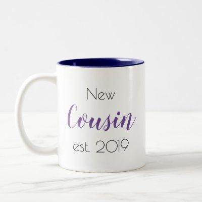 Pretty New Cousin Family  Personalized Girly Two-Tone Coffee Mug