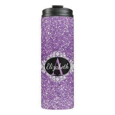 Pretty Ombre Purple Glitter  Monogram Thermal Tumbler