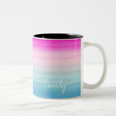 Pretty Pink and Blue Ombre Watercolor Two-Tone Coffee Mug
