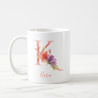 "Pretty Pink Watercolor Letter ""K"" Coffee Mug"