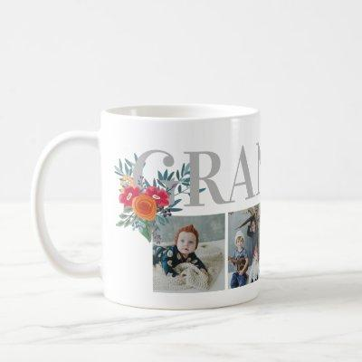 Pretty Red Floral Grandma Photo Collage Coffee Mug