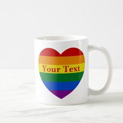 Pride LGBTQ Rainbow Heart Flag Custom Text Coffee Mug