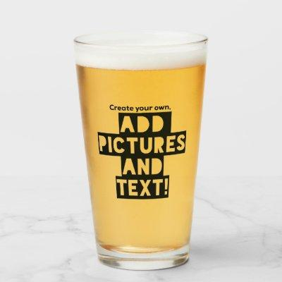 Print on a BEER GLASS - Upload Pic, add Text!