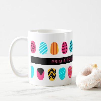 Professional Modern Girly Pink Teal Nail Salon Coffee Mug